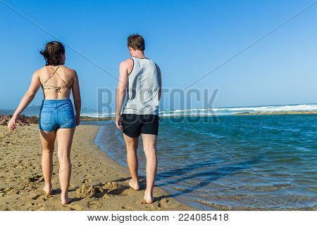 Man Girl Headless Walking Beach Ocean Pool