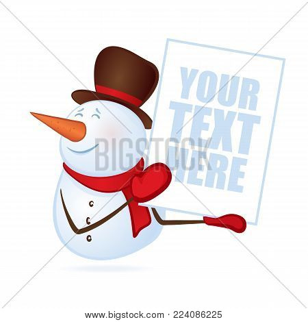 Vector illustration: Winter smiling snowman with blank banner or poster in hands on isolated on white background. Merry Christmas