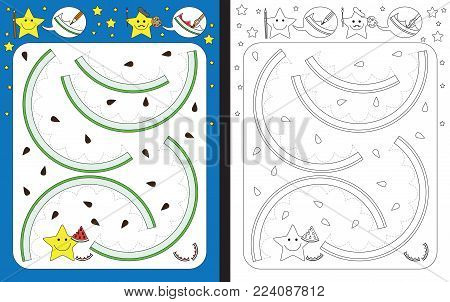 Preschool worksheet for practicing fine motor skills - tracing dashed lines of watermelon rind
