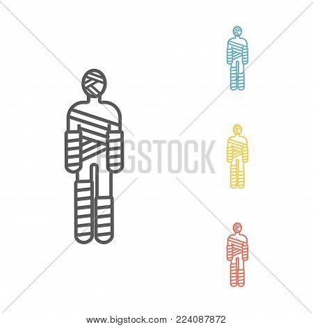 Injured man in bandages Vector signs for web graphics.