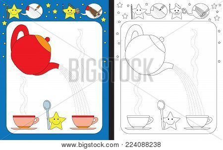 Preschool worksheet for practicing fine motor skills - tracing dashed lines of tea from teapot to cup