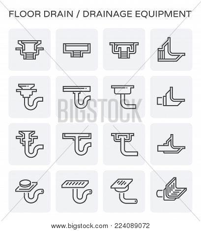 Floor drain and drainage equipment vector icon set.