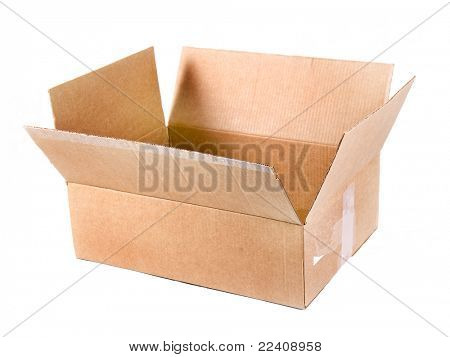 An open cardboard box isolated on white background