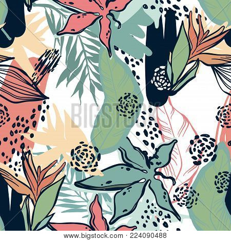 Seamless patern, branches and plants of the tropics