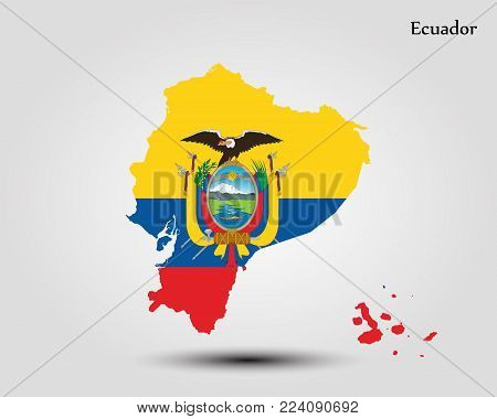 Map of Ecuador. Vector illustration. World map