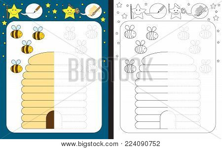 Preschool worksheet for practicing fine motor skills - tracing dashed lines - finish the illustration of bees and beehive