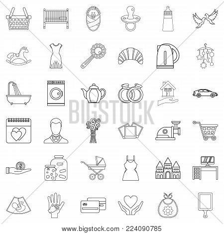 Married life icons set. Outline set of 36 married life vector icons for web isolated on white background