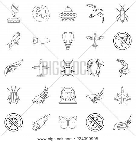 Fly icons set. Outline set of 25 fly vector icons for web isolated on white background