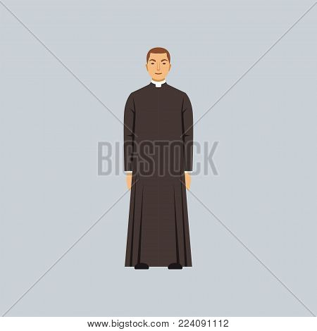 Catholic priest or pastor, representative of religious confession vector Illustration in a flat style