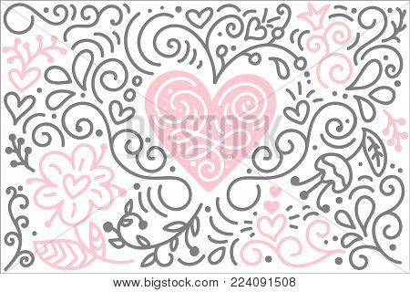 Scandinavian folk heart vector with flowers and flourish - Valentines Day, wedding, birthday greeting card.