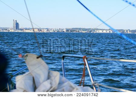 Poland, Gdynia city marine town skyline view from yacht,  cityscape