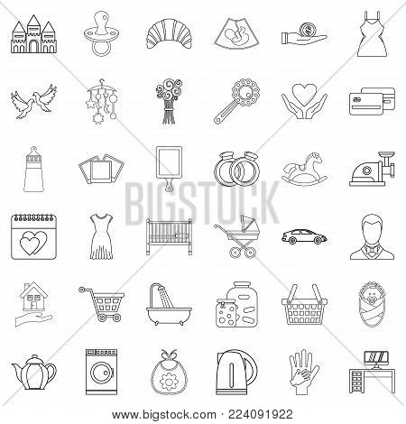Common life icons set. Outline set of 36 common life vector icons for web isolated on white background