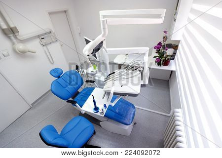 Top view of clean modern dental ordination without person