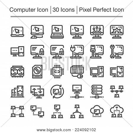 computer and network line icon set vector illustration