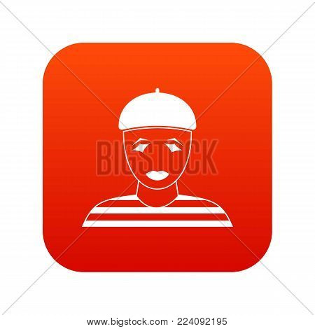 Clown icon digital red for any design isolated on white vector illustration