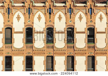 BARCELONA,SPAIN-MAY 20,2017:CosmoCaixa, science museum. The building, designed by Josep Domenech i Estapa, to serve as an asylum for the blind. Modernist style.Barcelona.