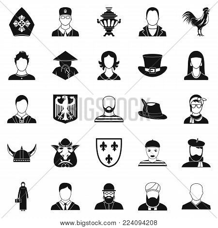 National icons set. Simple set of 25 national vector icons for web isolated on white background