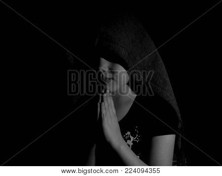 Praying child. Portrait of a little child