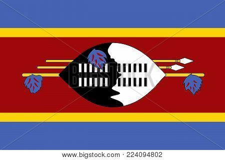 Flag of Swaziland. Vector illustration. World flag