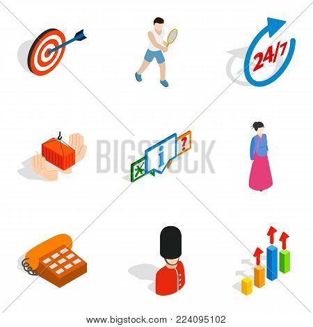 Human opportunity icons set. Isometric set of 9 human opportunity vector icons for web isolated on white background