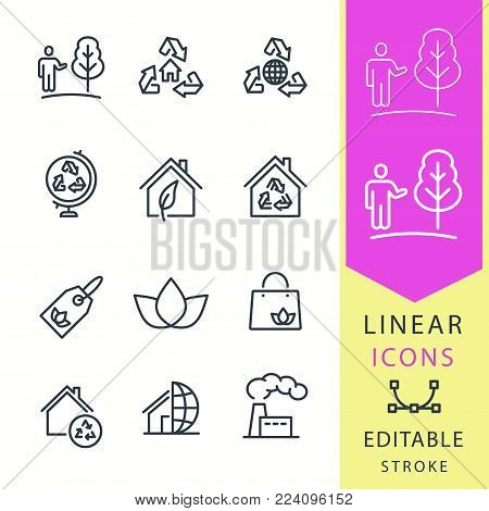Ecology - line vector icon set. Editable stroke. Eco, ecological house, nature, tree and more.