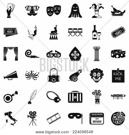 Staging icons set. Simple set of 36 staging vector icons for web isolated on white background