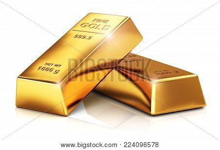 3D render illustration of the stack of shiny gold ingots, bars or bullions isolated on white background
