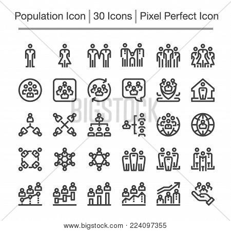 population and people icon set vector illustration