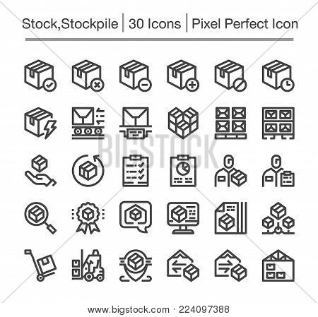 stock and stockpile line icon set vector illustration