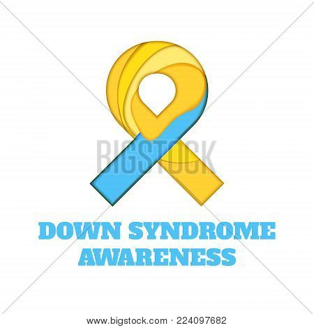 Down Syndrome awareness poster. Blue and yellow ribbon made in 3D paper cut and craft style on white background. Medical concept. Vector illustration.