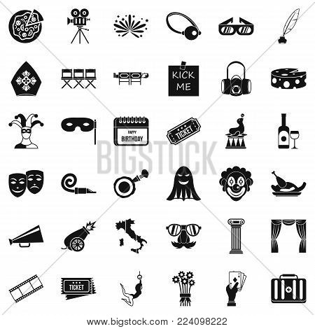 Setting icons set. Simple set of 36 setting vector icons for web isolated on white background
