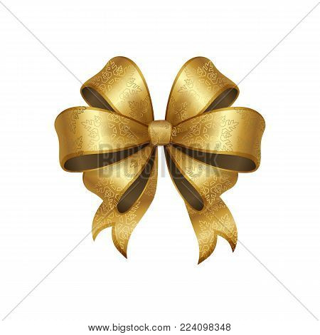 Golden bow knot with five loops vector illustration decorative element isolated on white background. Satin gold ribbon, silk tape for your design