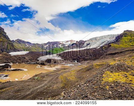 Vatnajokull Glacier lanscape at Vatnajokull National Park in Iceland