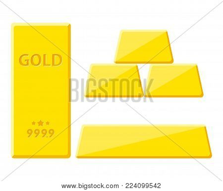 Gold bar isolated on white background. Golden bullion view from different sides. Vector illustration