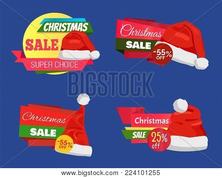 Christmas sale super choice half price banners vector illustration with red Santa s hats isolated on dark blue background, ad text, glossy ribbons