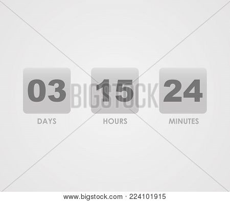 Countdown counter timer isolated on grey back