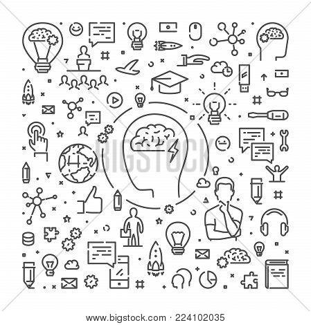 Vector line web banner for brainstorming. Modern linear concept for brainstorm.