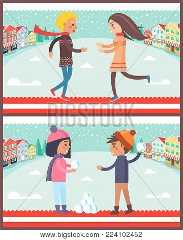 Couple in winter city, collection of posters with dancing boy and girl, male and female playing snowball fight game, isolated on vector illustration