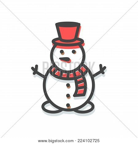 Snowman small icon, Christmas decoration elements, winter character, with red hat and warm knitted scarf with pattern, isolated on vector illustration