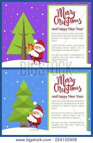 Merry Christmas Happy New Year poster with Santa playing on trumpet and giving presents near Xmas tree on snowy backdrop vector illustration banners