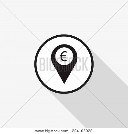 Vector icon marker location icon Euro with a long shadow
