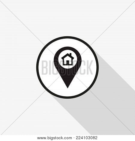 Vector icon marker location icon house with a long shadow