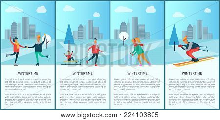Wintertime posters with text sample and headlines, set of placards with people skiing and skating, father and son, snowball vector illustration