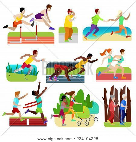 People fitness running vector runner character jogging to train for marathon and couple of friends jog together illustration sportsman in sportswear run sporting race isolated on white background.