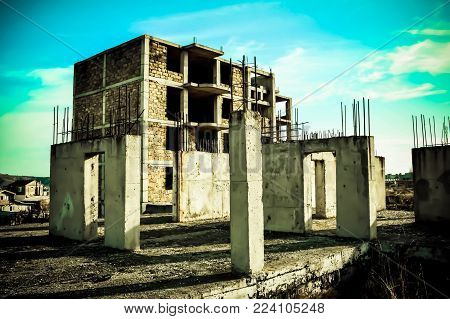 Unfinished panel building. Frozen construction. Destroy building