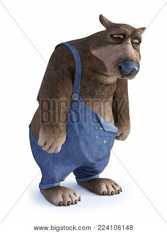3D rendering of a cartoon bear looking very sad. White background.