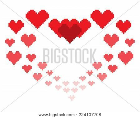 An illustration in the form of a pixelated hearts. Can be used as greeting card to lovers for holiday Valentine's Day
