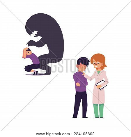 vector flat woman doctor with clipboard female mental specialist hugging man with depression, boy sitting with monster shadow behind suffering from fear. Isolated illustration on a white background