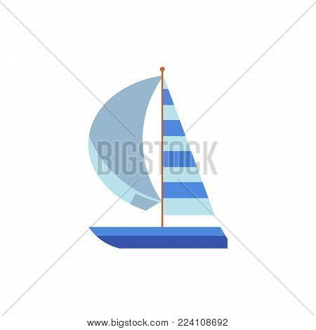 Yacht, sailing ship, boat, sailboat with a striped sail, flat cartoon vector illustration isolated on white background. Flat cartoon vector illustration of yacht, boat, sailing ship, sailboat