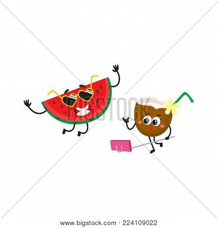 Vector cartoon summer fruit characters in sun glasses icon set. Watermelon dancing, coconut cocktail making selfie by stick having fun smiling. Isolated illustration, white background